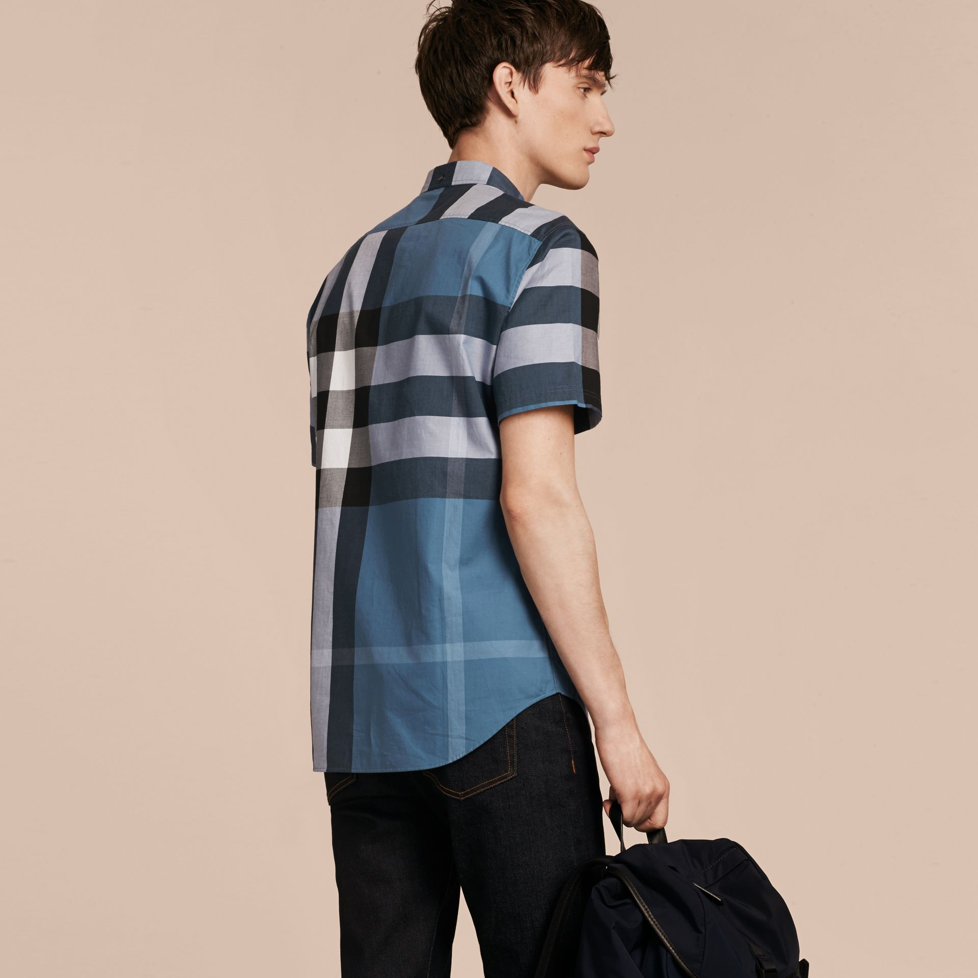Lupin blue Short-sleeved Check Cotton Shirt Lupin Blue - gallery image 3