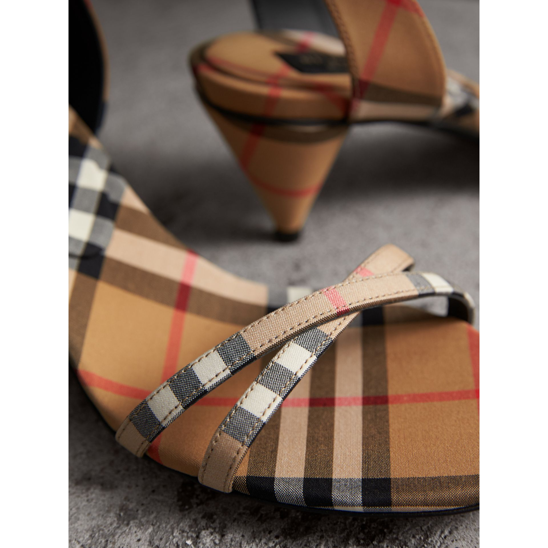 Vintage Check Cotton Cone-heel Sandals in Antique Yellow - Women | Burberry - gallery image 2