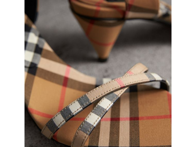 Vintage Check Cotton Cone-heel Sandals in Antique Yellow - Women | Burberry - cell image 1