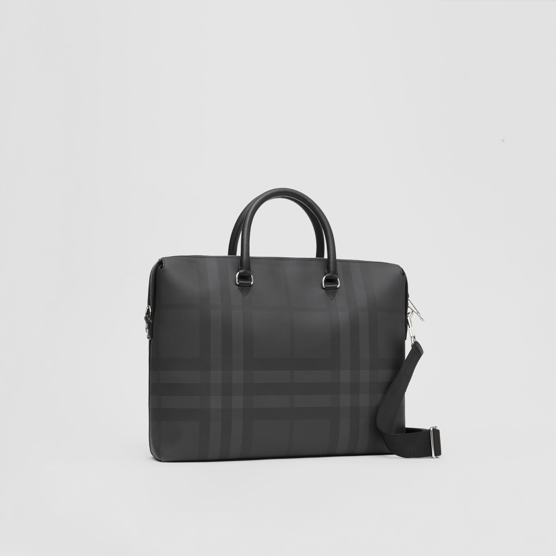 Large London Check and Leather Briefcase in Dark Charcoal - Men | Burberry - gallery image 6