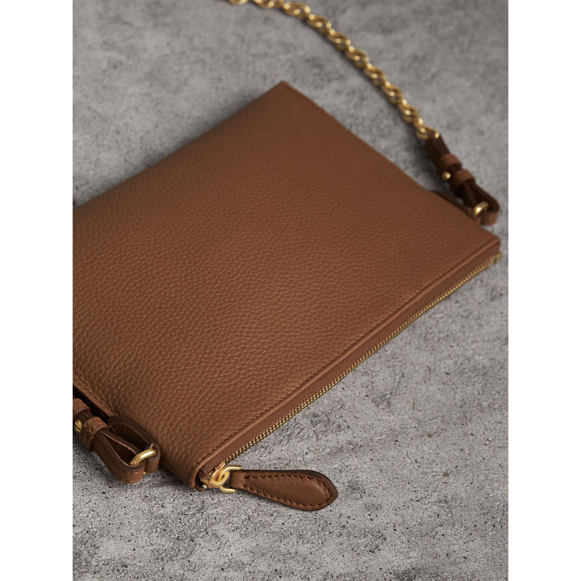 Embossed Leather Clutch Bag in Chestnut Brown - Women | Burberry - gallery image 3