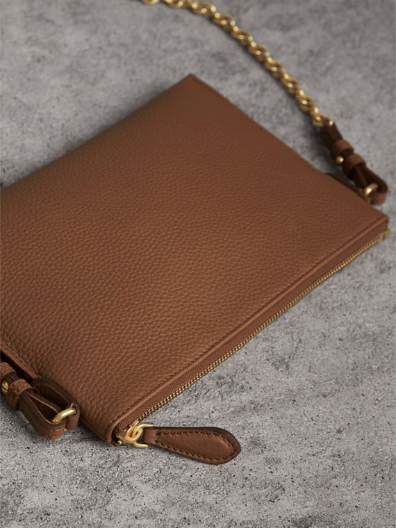 Embossed Leather Clutch Bag in Chestnut Brown - Women | Burberry - cell image 2