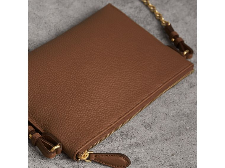 Embossed Leather Clutch Bag in Chestnut Brown - Women | Burberry - cell image 4