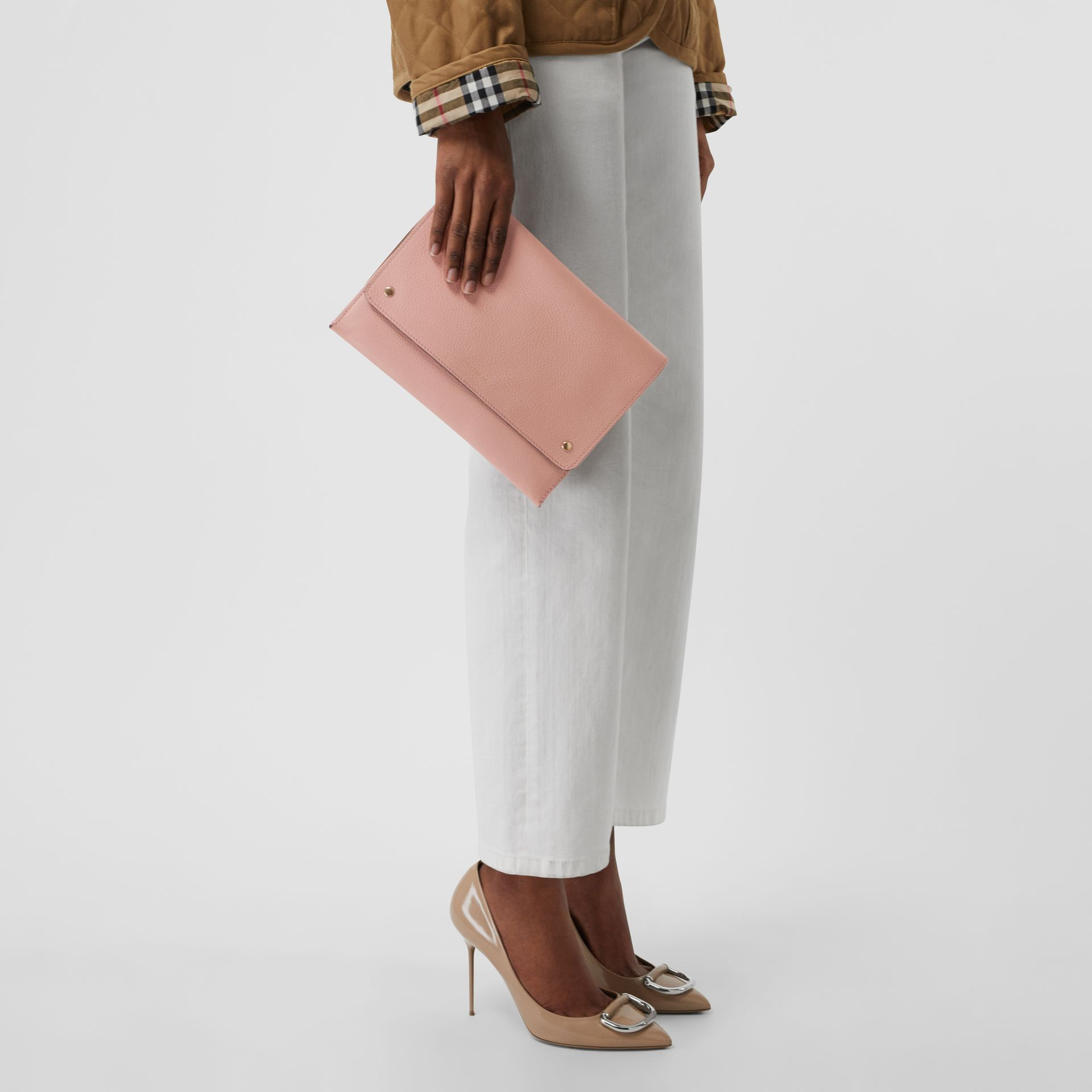 Leather Envelope Crossbody Bag in Ash Rose - Women | Burberry United States - gallery image 3