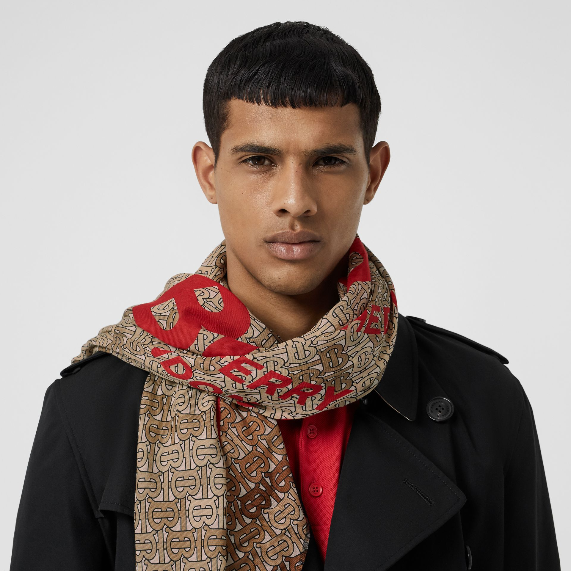 Horseferry Print Cotton Silk Large Square Scarf in Beige | Burberry - gallery image 3