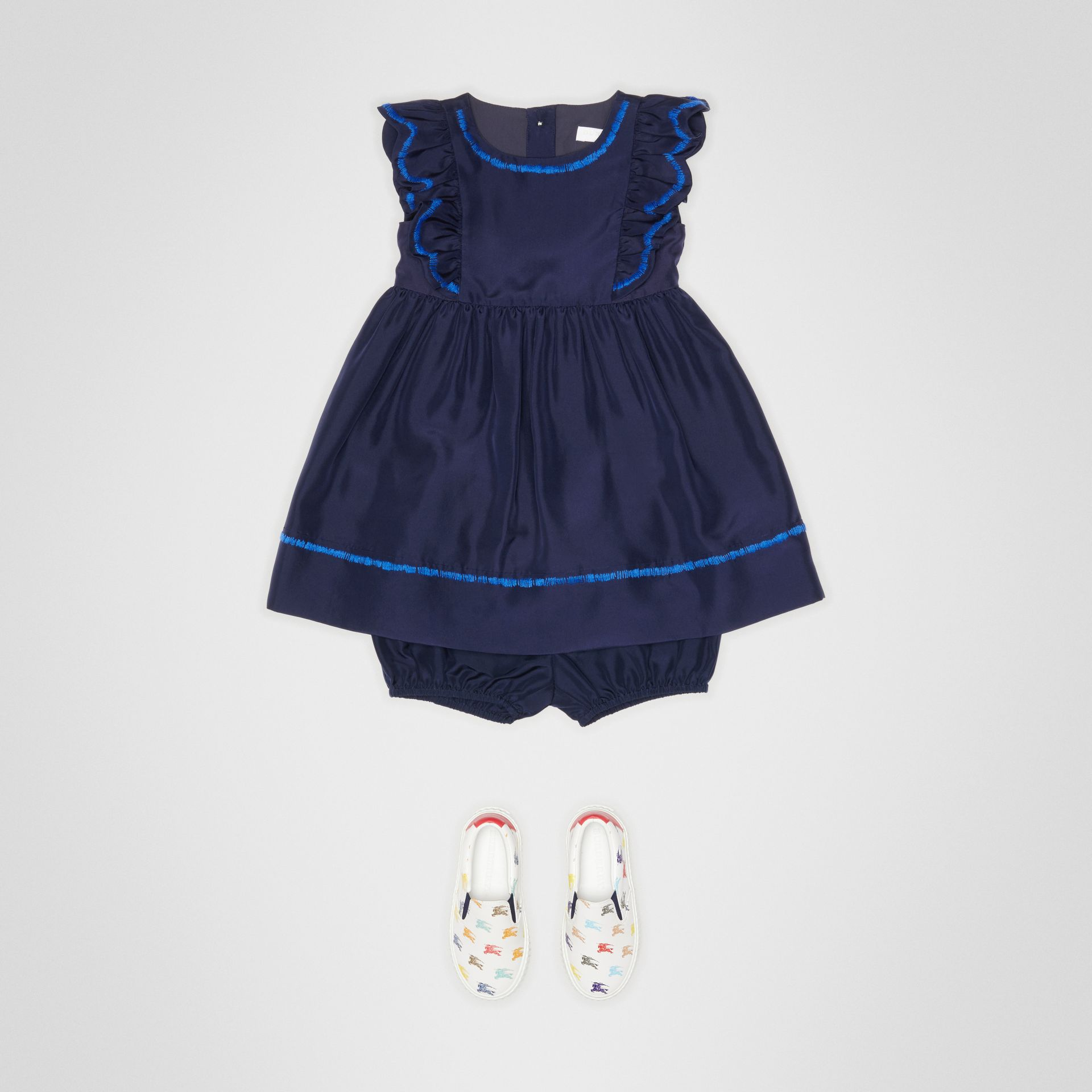 Ruffle Detail Embroidered Silk Dress with Bloomers in Navy - Children | Burberry - gallery image 2