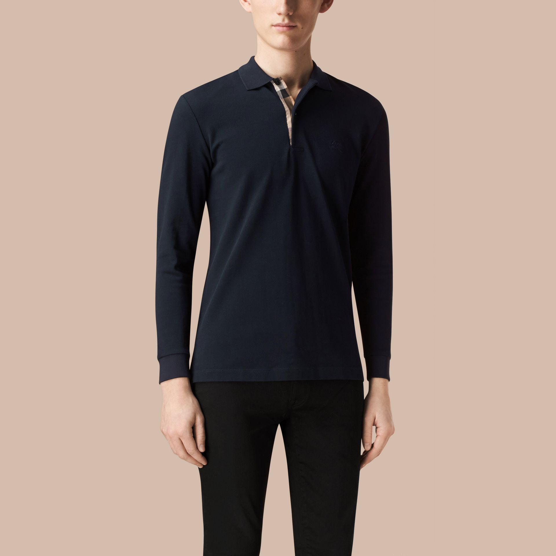 Check Placket Long Sleeve Polo Shirt Dark Navy - gallery image 3