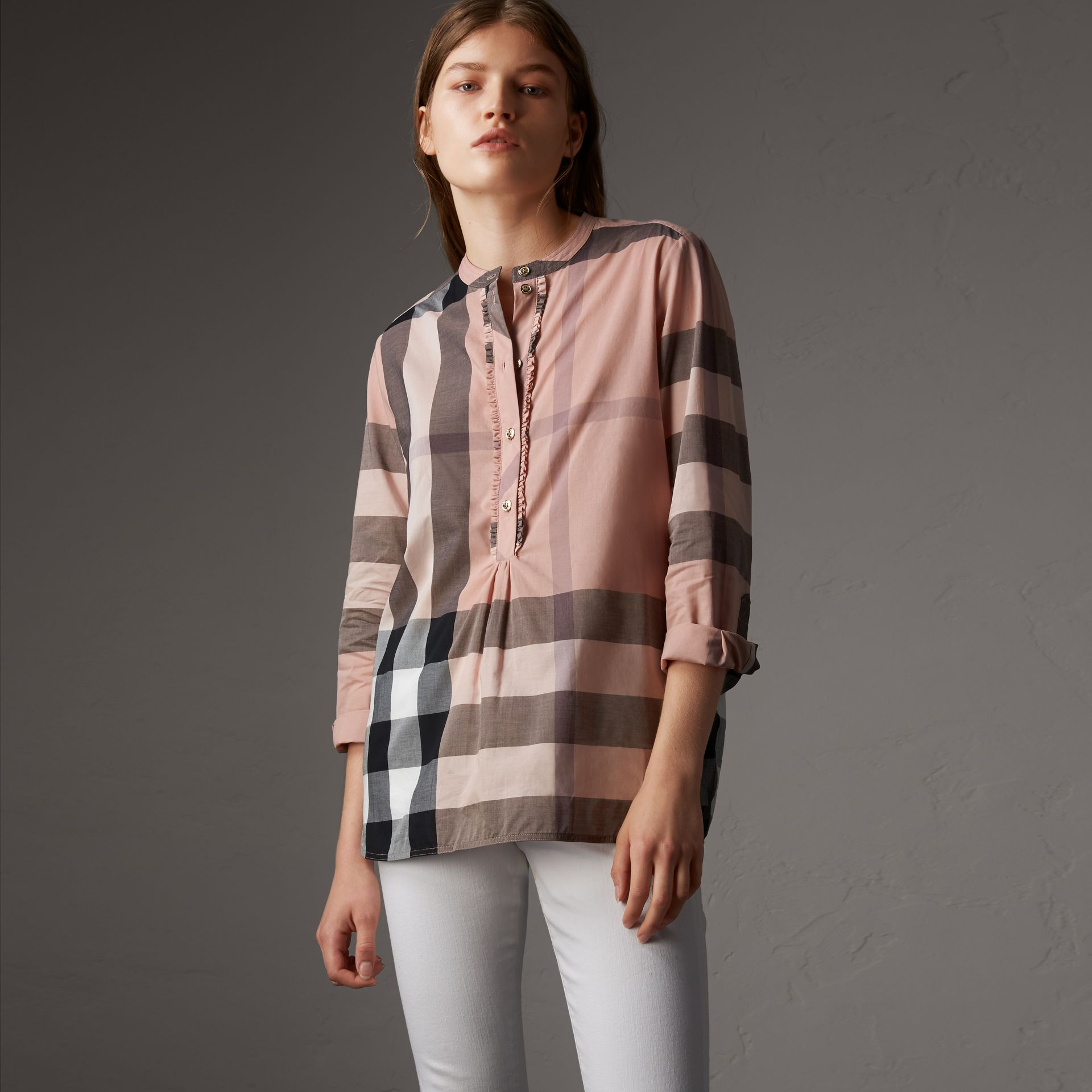 Check Grandad Collar Shirt in Antique Pink - Women | Burberry - gallery image 0