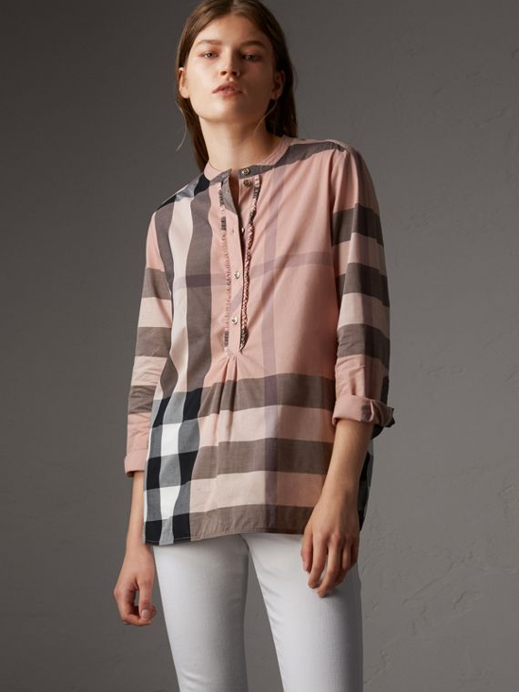 Check Grandad Collar Shirt in Antique Pink