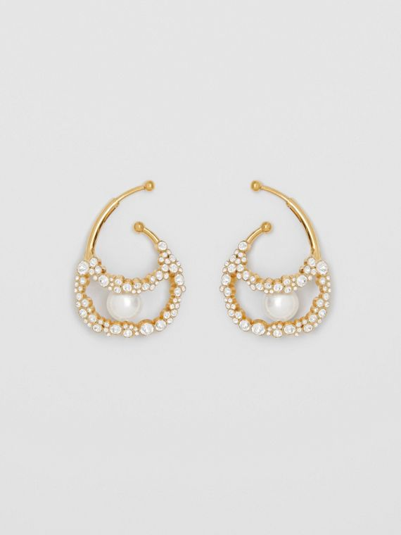 Resin Pearl Detail Crystal Gold-plated Ear Cuff in Light Gold/crystal