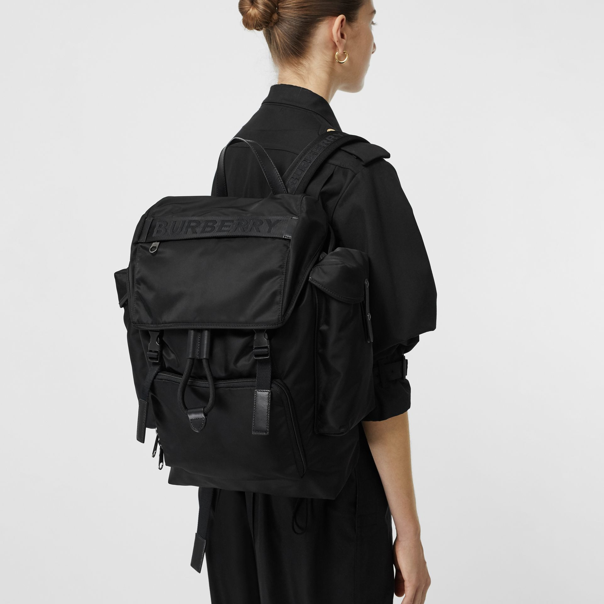 Large Leather Trim Nylon Backpack in Black | Burberry - gallery image 5