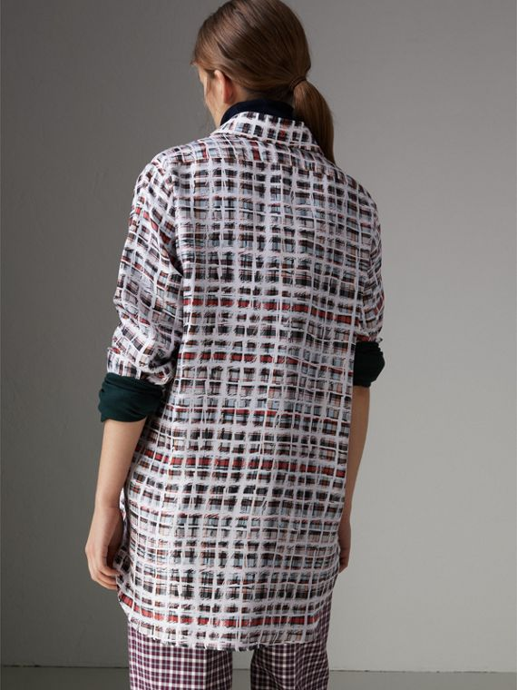 Scribble Check Silk Shirt in Cadmium Red - Women | Burberry - cell image 2