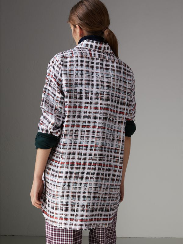 Scribble Check Silk Shirt in Cadmium Red - Women | Burberry United Kingdom - cell image 2