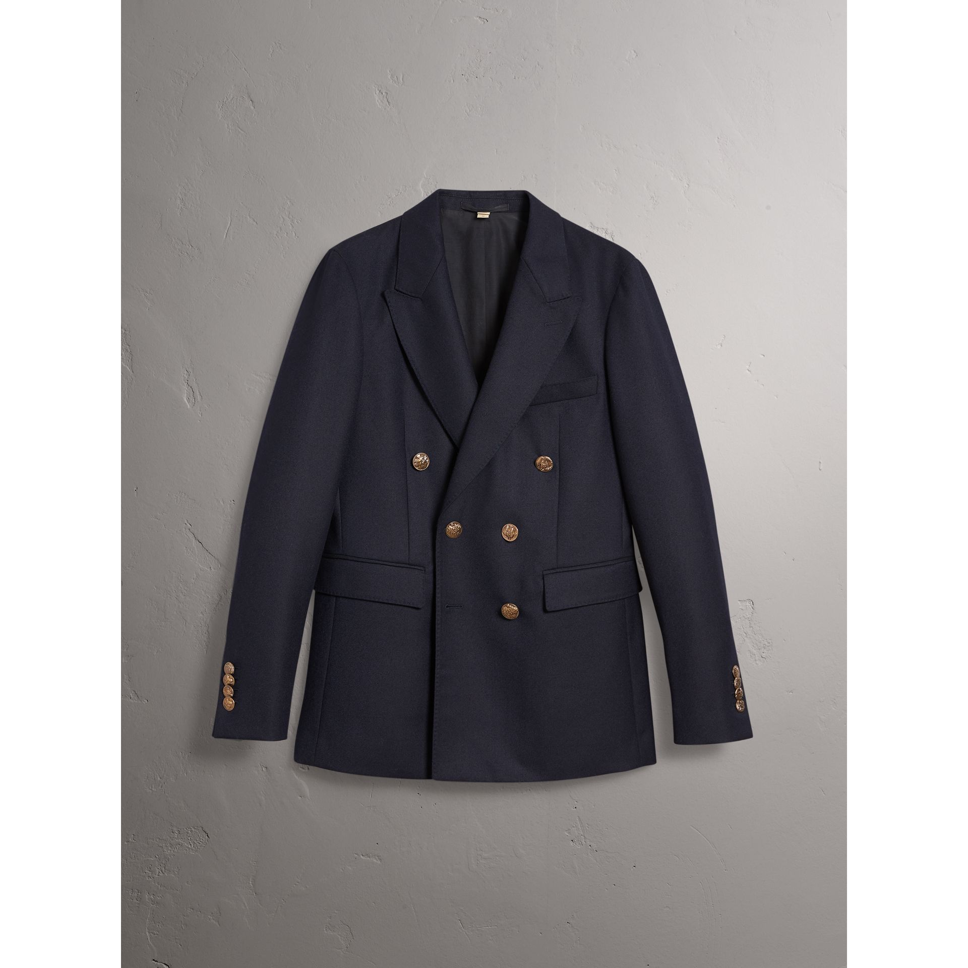 Slim Fit Wool Tailored Jacket with Bird Buttons in Navy - Men | Burberry - gallery image 4