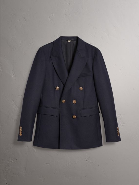 Slim Fit Wool Tailored Jacket with Bird Buttons in Navy - Men | Burberry Singapore - cell image 3