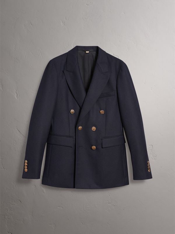 Slim Fit Wool Tailored Jacket with Bird Buttons in Navy - Men | Burberry - cell image 3
