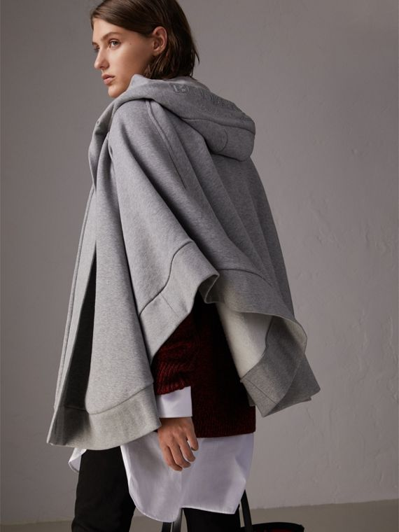 Embroidered Jersey Hooded Cape in Pale Grey Melange | Burberry Hong Kong - cell image 2