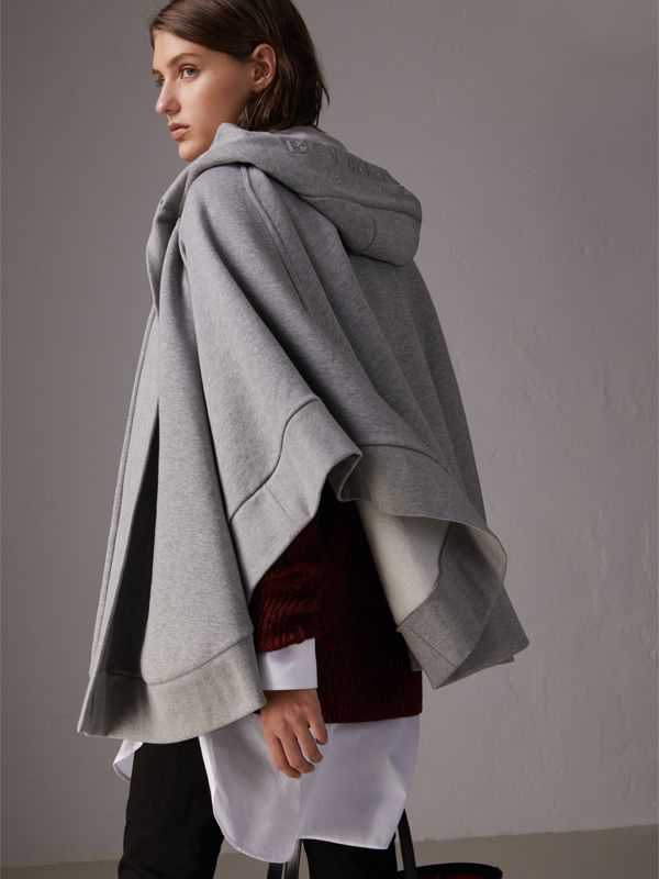 Embroidered Jersey Hooded Cape in Pale Grey Melange | Burberry United Kingdom - cell image 2