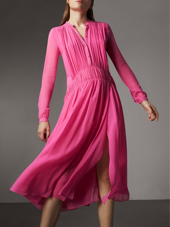 Gathered Silk Georgette Dress in Neon Pink - Women | Burberry - cell image 1