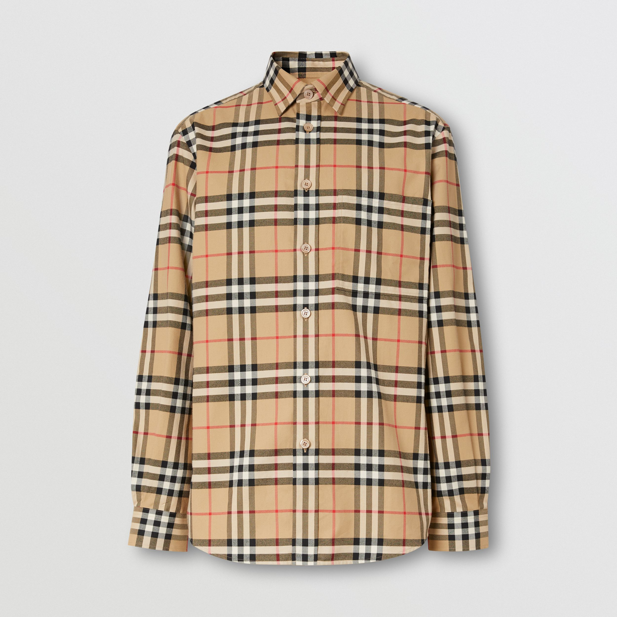 Vintage Check Cotton Flannel Shirt in Archive Beige - Men | Burberry - 4