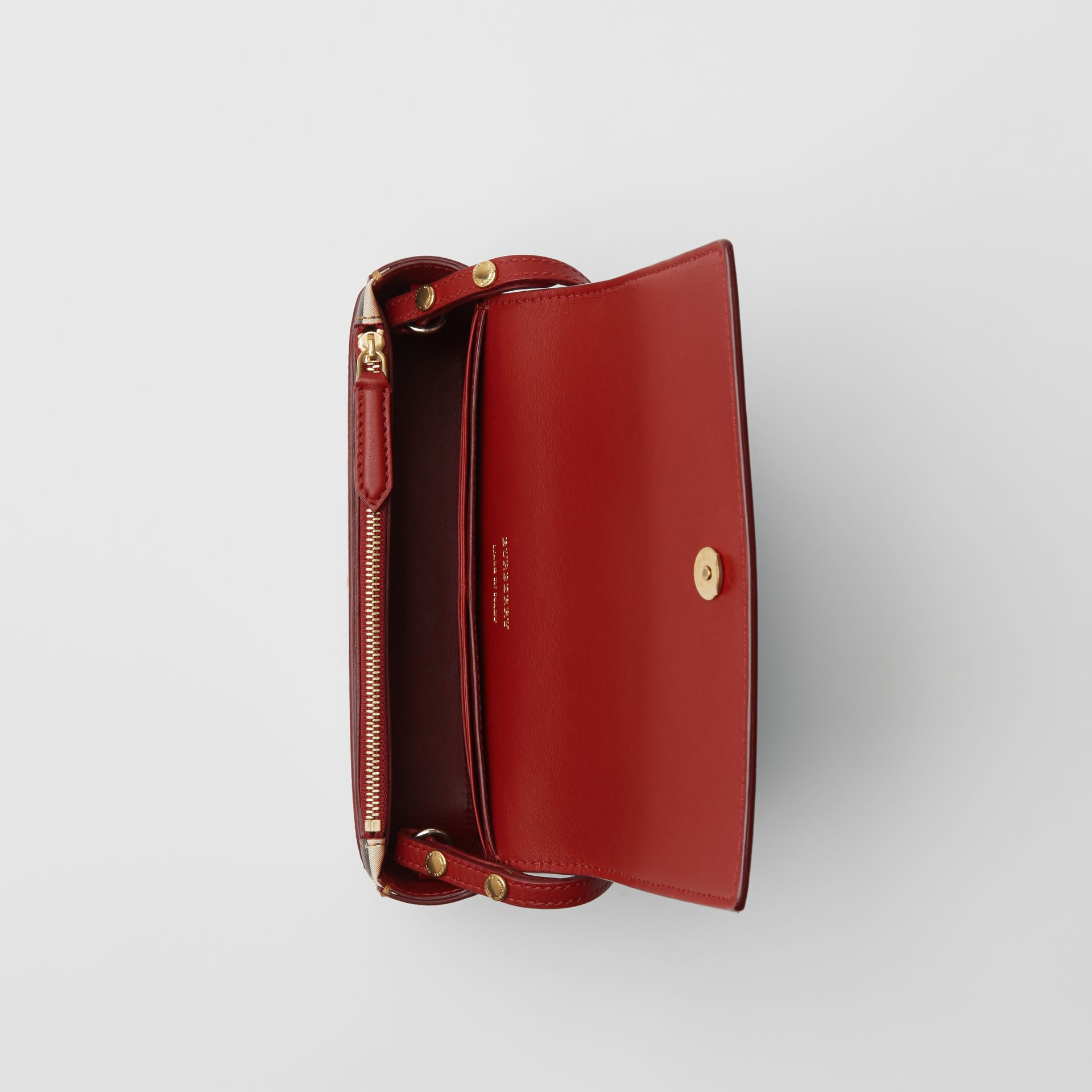 Vintage Check and Leather Wallet with Detachable Strap in Crimson - Women | Burberry Singapore - gallery image 5