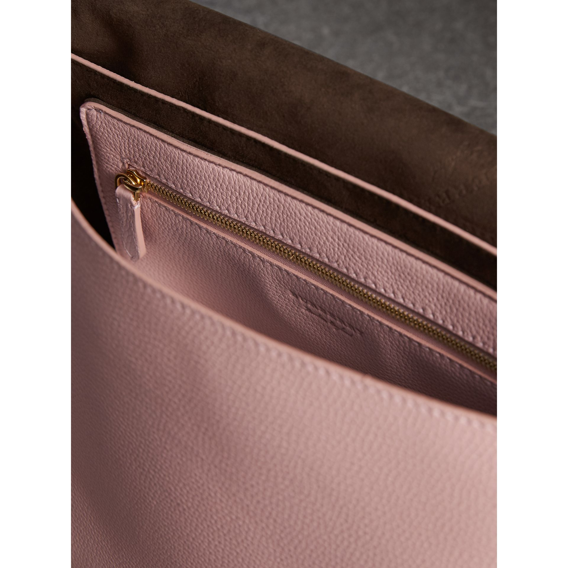 Medium Embossed Leather Messenger Bag in Pale Ash Rose - Women | Burberry - gallery image 5
