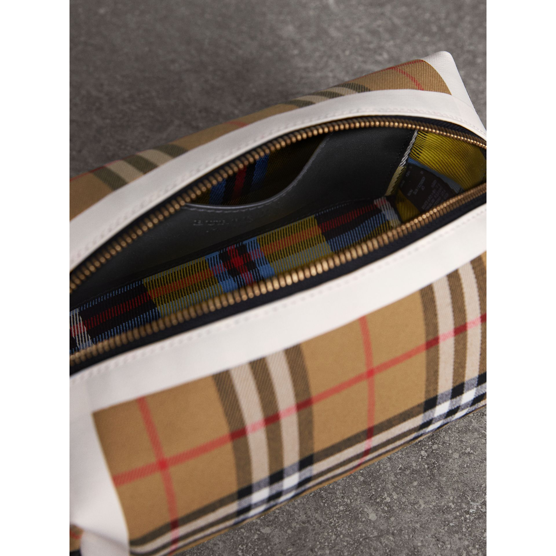 Vintage Check and Tartan Cotton Pouch in Antique Yellow/ochre Yellow | Burberry Singapore - gallery image 6