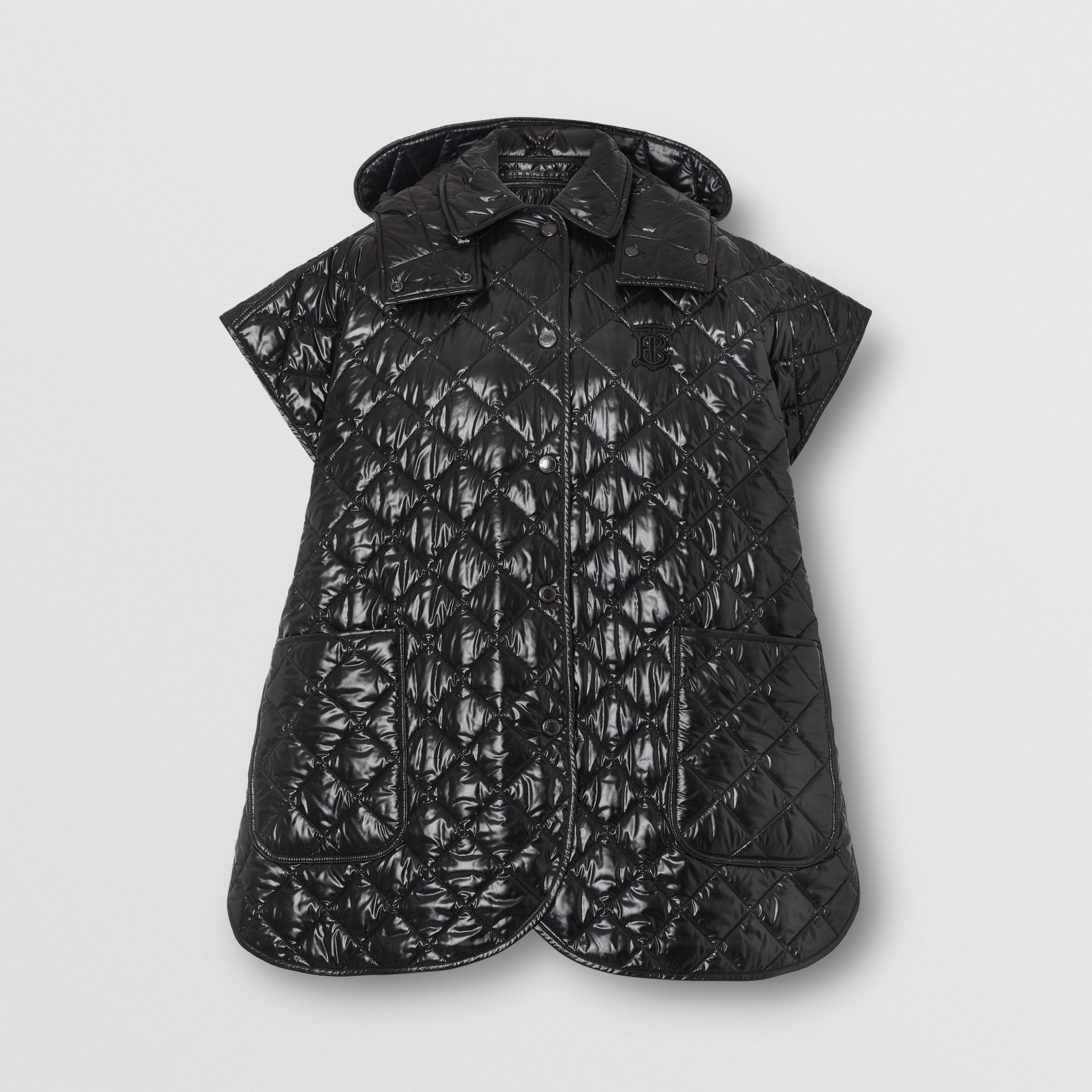 Detachable Hood Diamond Quilted Cape in Black - Women | Burberry - gallery image 3