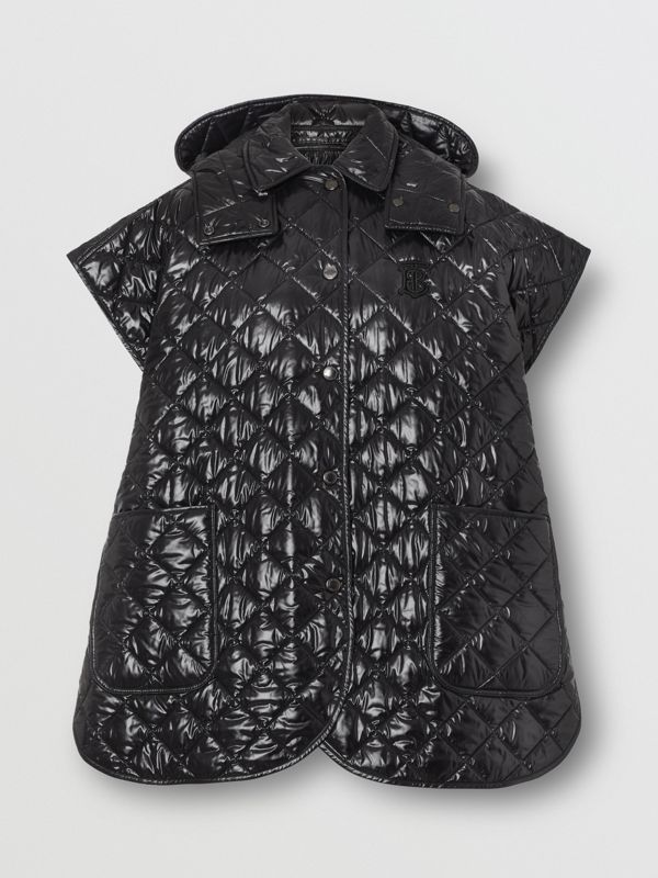 Detachable Hood Diamond Quilted Cape in Black - Women | Burberry - cell image 3