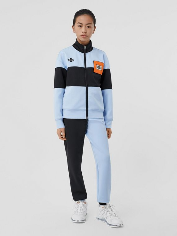 Logo Graphic Two-tone Stretch Jersey Track Top in Pale Blue