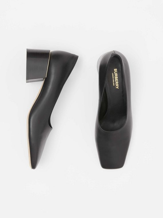 Gold-plated Detail Lambskin Block-heel Pumps in Black