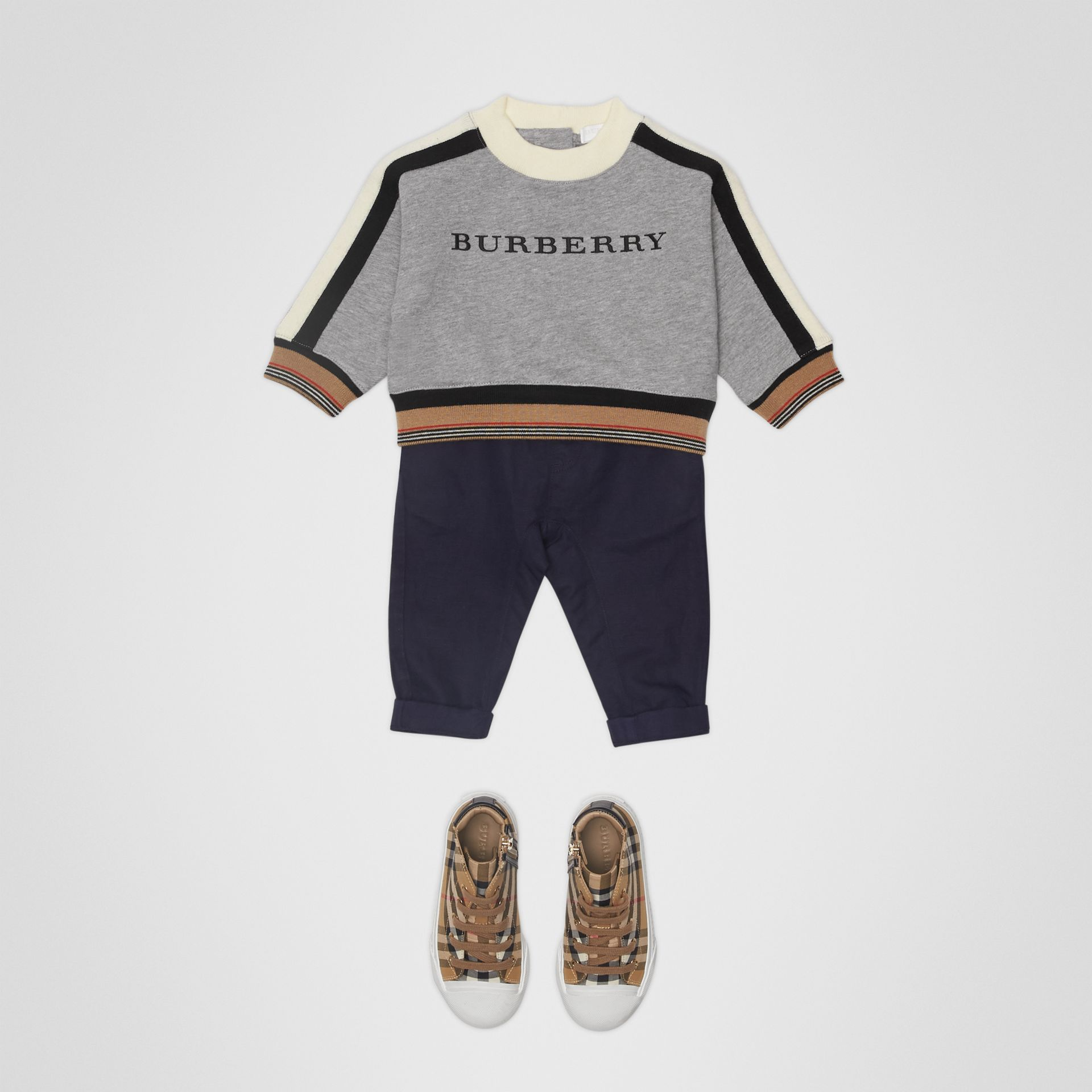 Embroidered Logo Cotton Sweatshirt in Grey Melange - Children | Burberry - gallery image 2