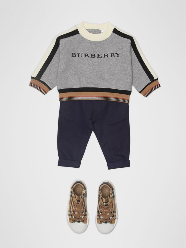 Embroidered Logo Cotton Sweatshirt in Grey Melange - Children | Burberry - cell image 2