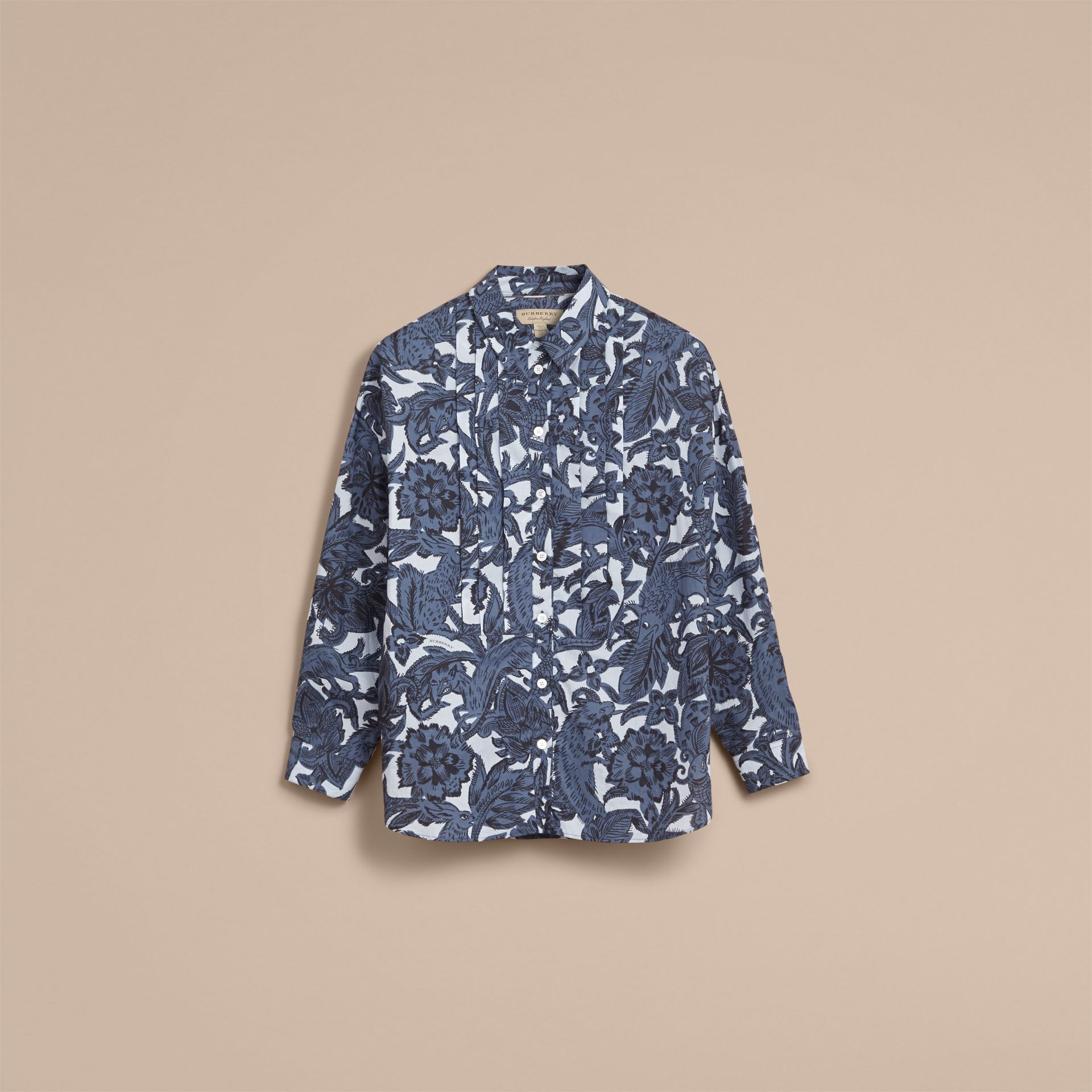 Pleated Bib Beasts Print Cotton Shirt in Stone Blue - Women | Burberry - gallery image 4