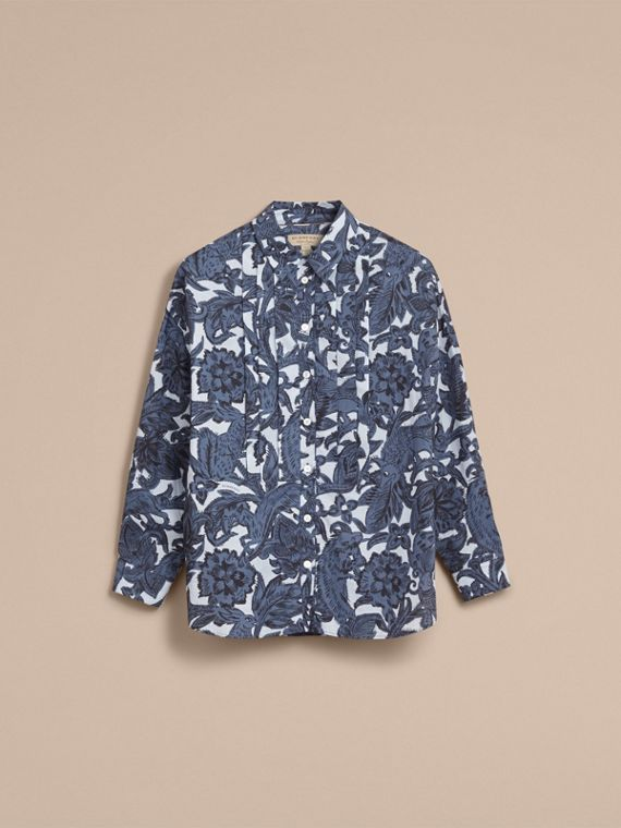 Pleated Bib Beasts Print Cotton Shirt in Stone Blue - Women | Burberry Australia - cell image 3