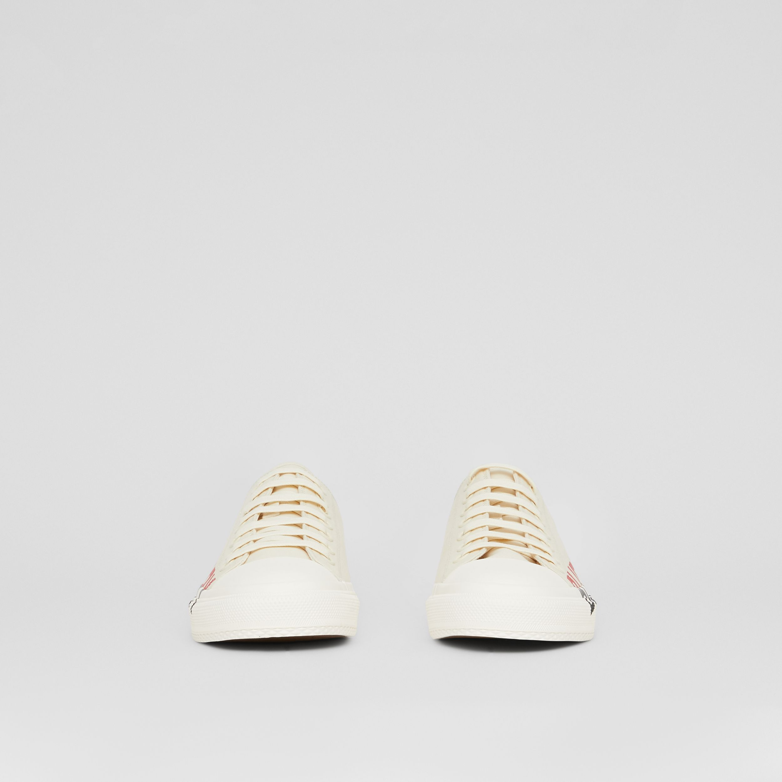Logo Print Cotton Canvas Sneakers in Cream - Women | Burberry United States - 4