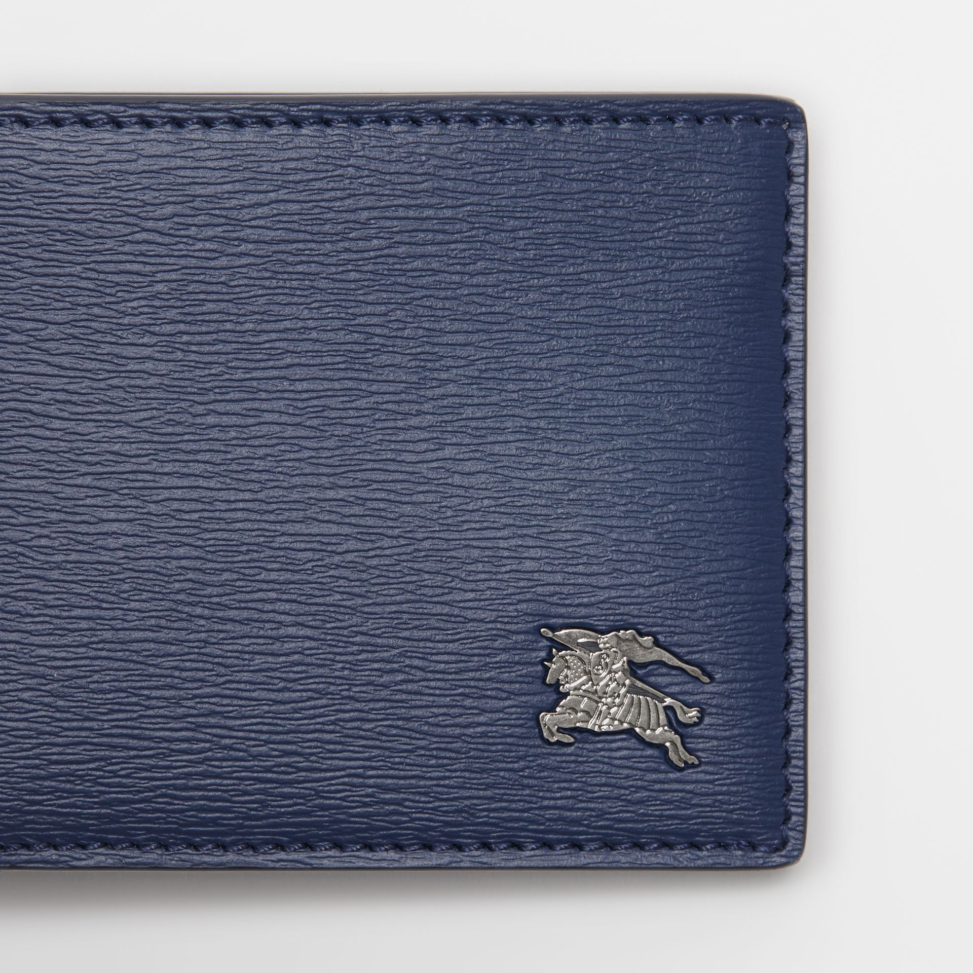 London Leather Bifold Wallet in Navy - Men | Burberry Singapore - gallery image 1