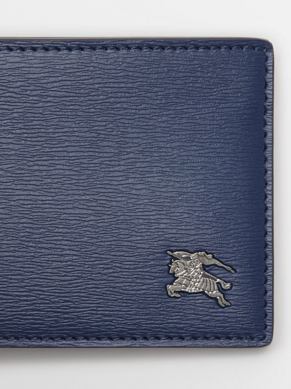 London Leather Bifold Wallet in Navy - Men | Burberry Singapore - cell image 1