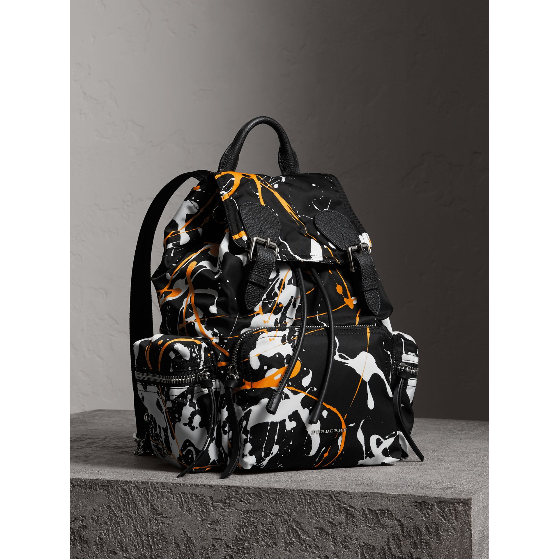 The Medium Rucksack in Splash Print in Black - Women | Burberry United Kingdom - gallery image 0