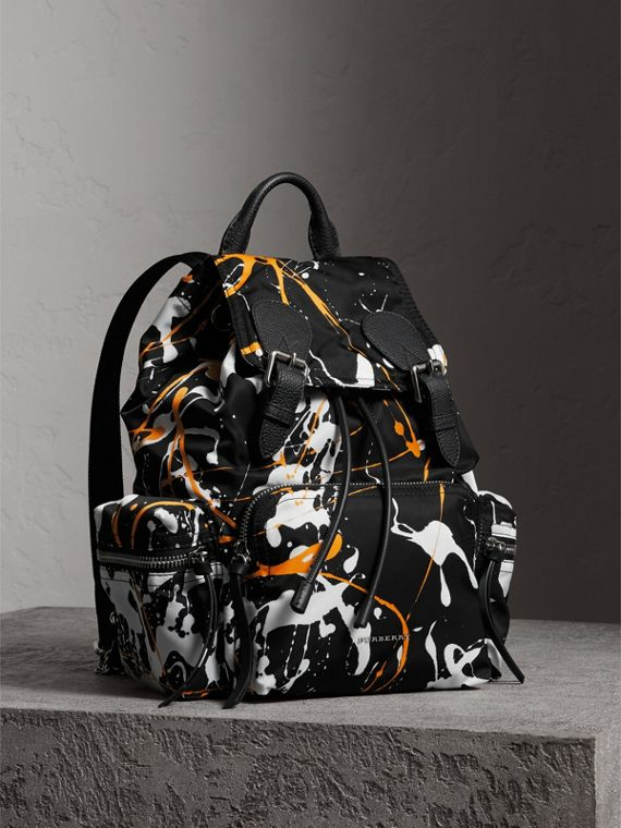 The Medium Rucksack in Splash Print in Black