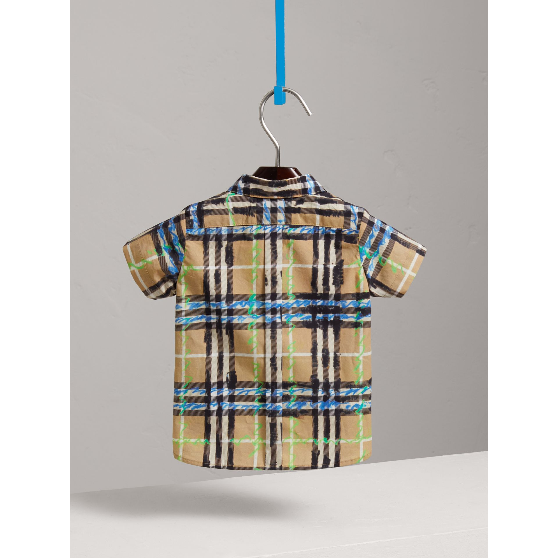 Short-sleeve Scribble Check Cotton Shirt in Bright Blue - Children | Burberry United Kingdom - gallery image 3