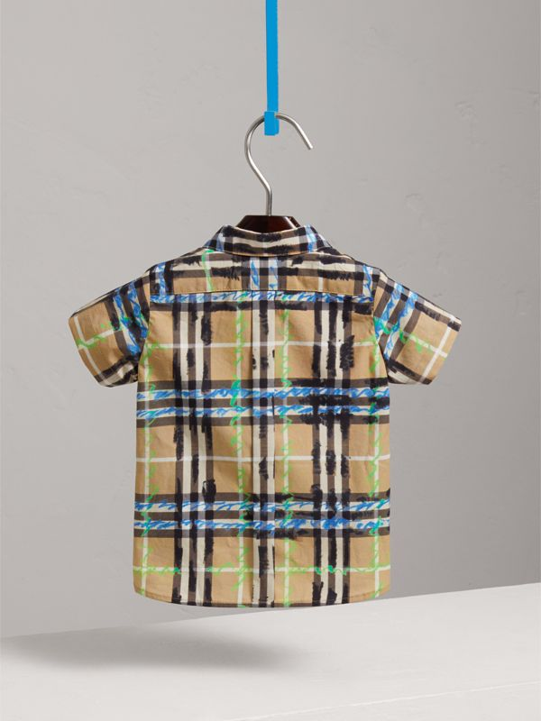 Short-sleeve Scribble Check Cotton Shirt in Bright Blue - Children | Burberry United Kingdom - cell image 3