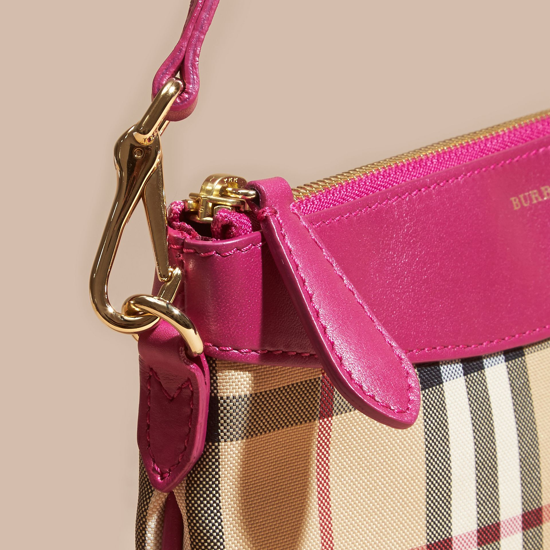 Horseferry Check and Leather Clutch Bag Brilliant Fuchsia - gallery image 7