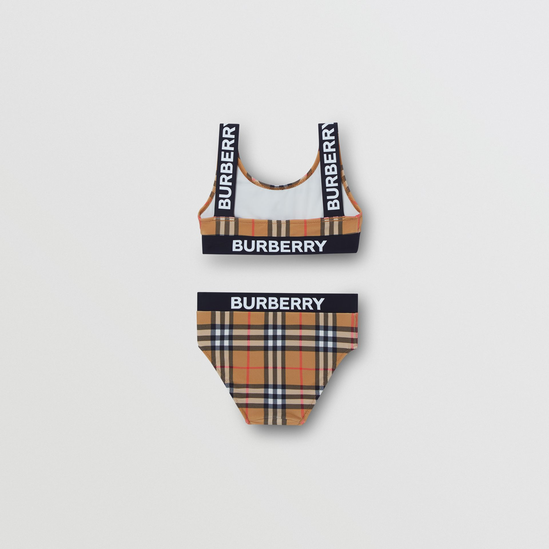 Logo Print Vintage Check Bikini in Antique Yellow | Burberry Australia - gallery image 3