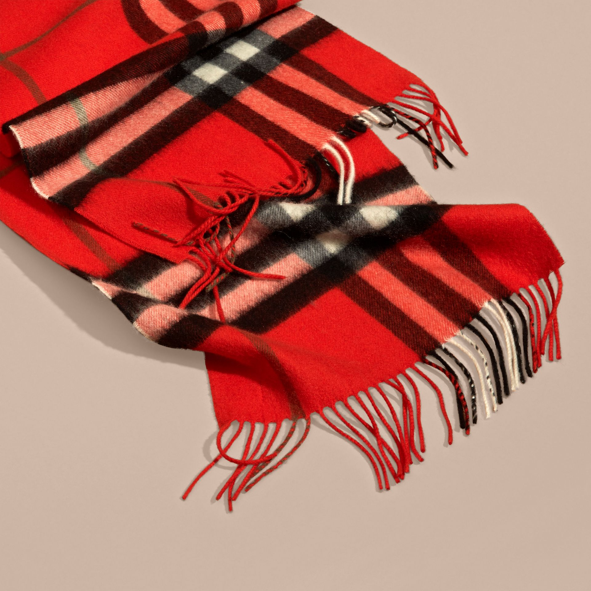 The Classic Cashmere Scarf in Check  Bright Orange Red - gallery image 5
