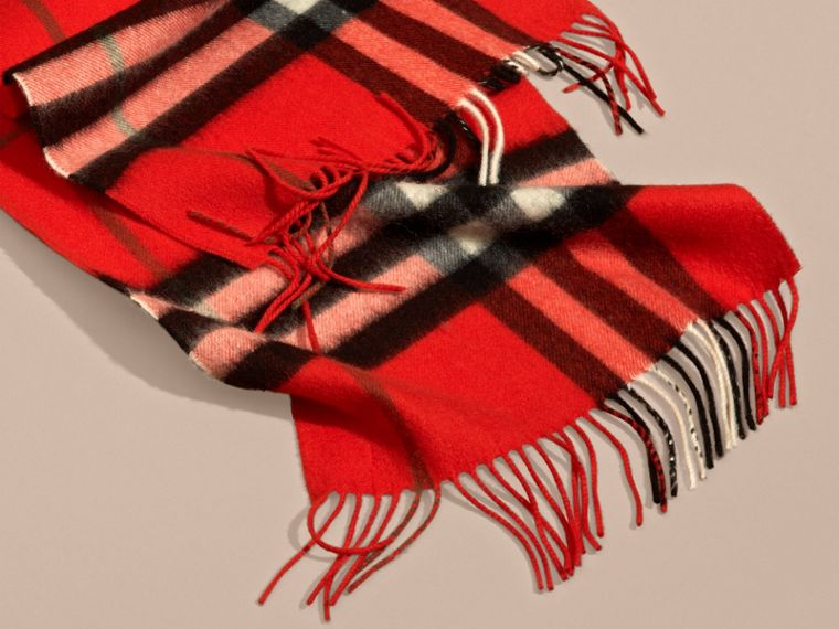 The Classic Check Cashmere Scarf in Bright Orange Red | Burberry - cell image 4