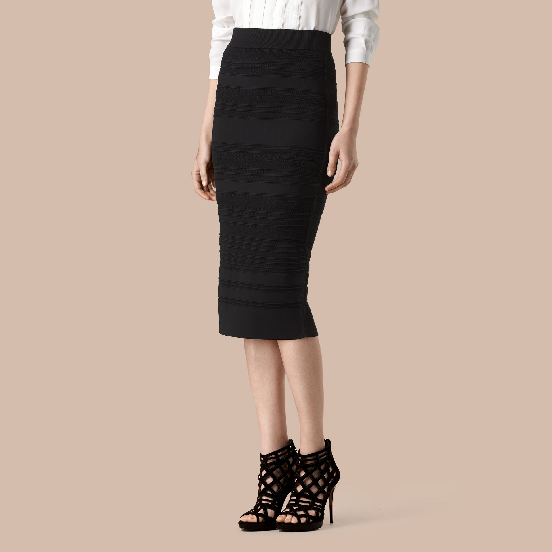 Black Striped Knitted Pencil Skirt - gallery image 1