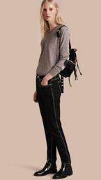 Skinny Fit Cropped Jeans with Topstitch Detail