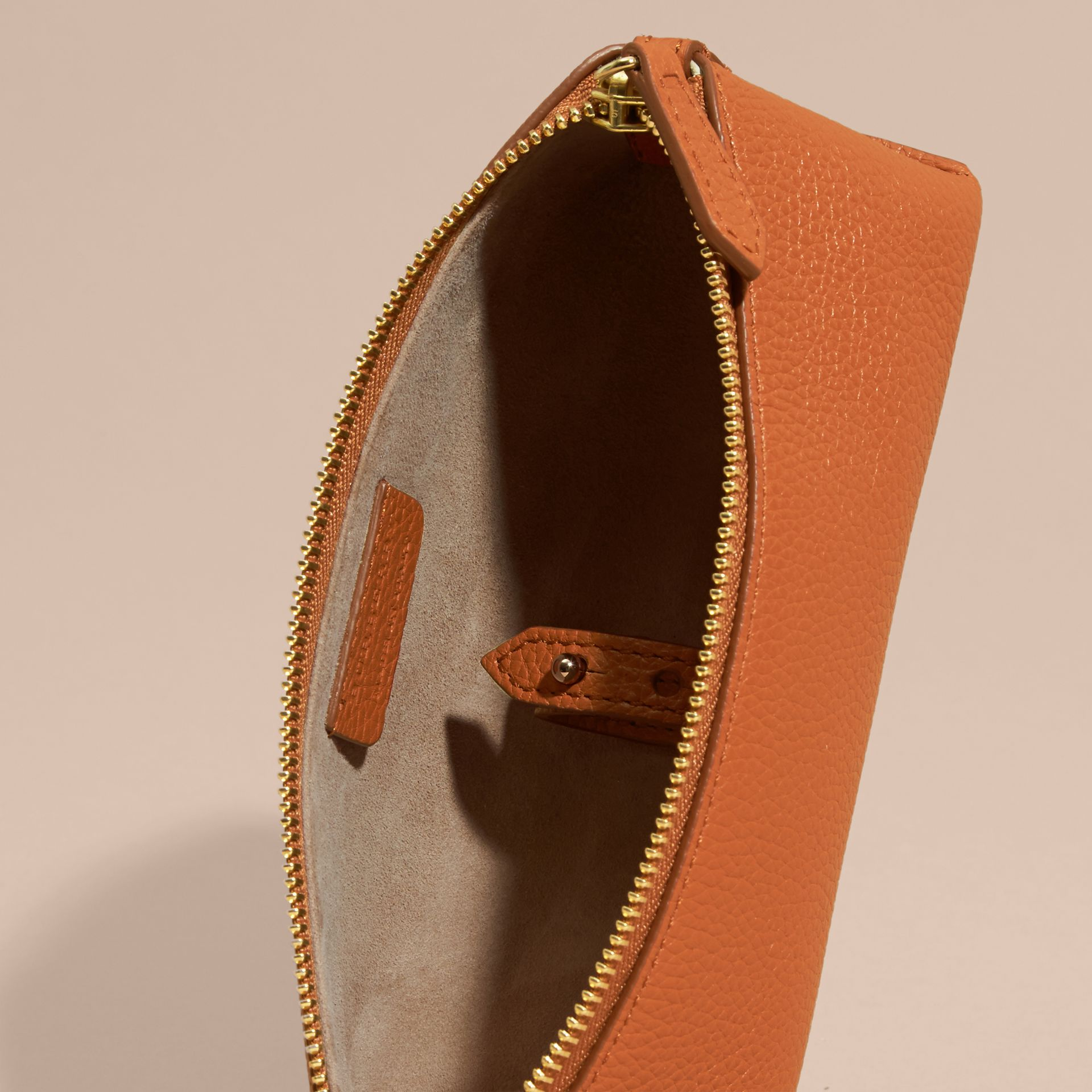 Orange umber Small Grainy Leather Digital Accessory Pouch - gallery image 5