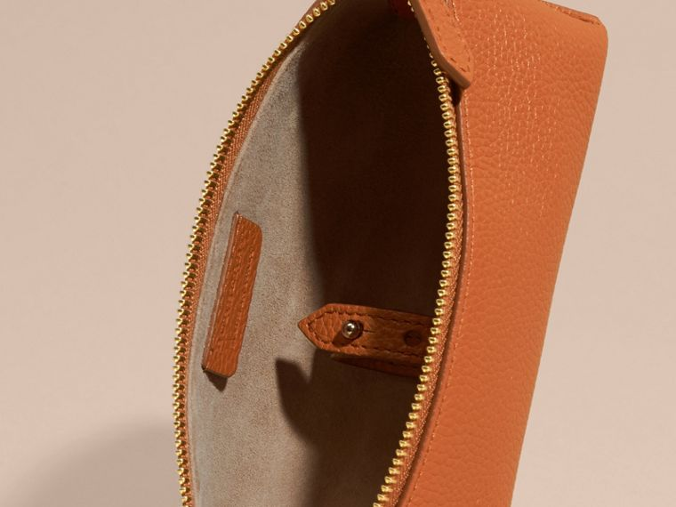 Orange umber Small Grainy Leather Digital Accessory Pouch - cell image 4